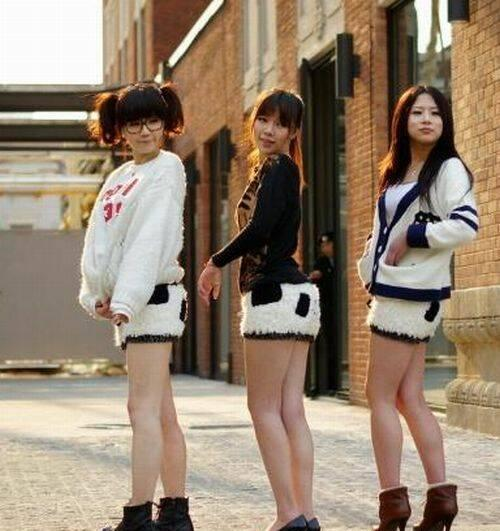 Chicas lindas con pantalones de panda