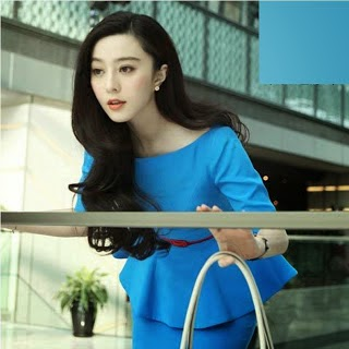 Light Blue Three Quarter Sleeve Peplum