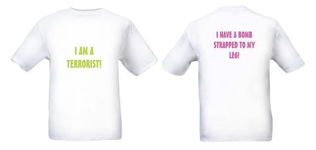 Wall Street Gerbil - Man Wearing Terrorist Sign on T-Shirt Flies Cross-Country Unnoticed
