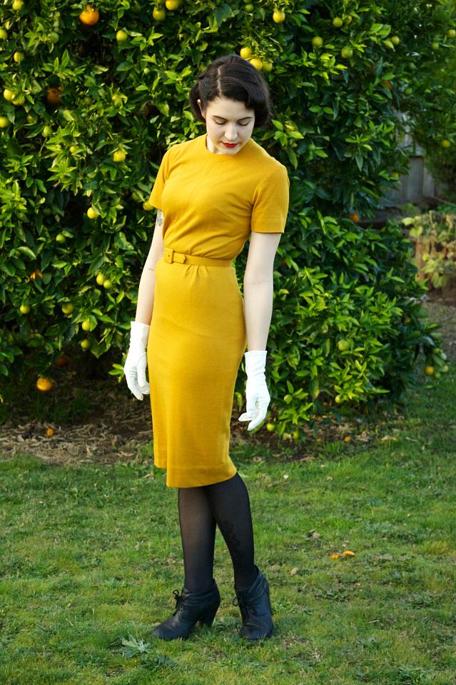 1960's mustard wiggle dress