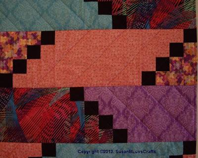 Diagonal Puzzle quilt detail
