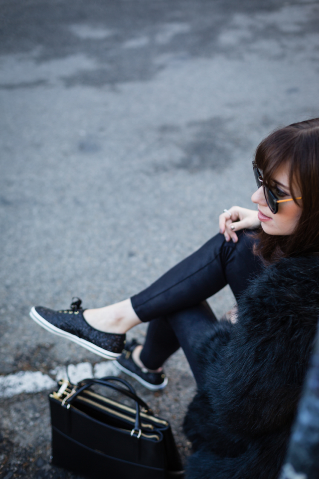 black jeans and black glitter sneakers via M Loves M @marmar