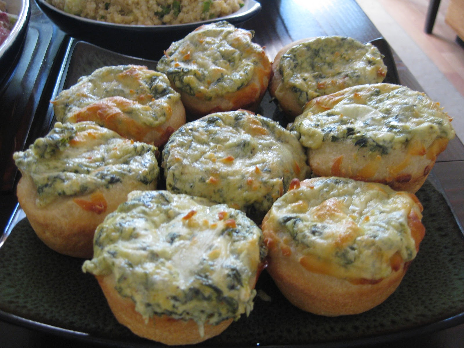 ice cream + french fries: Baked Spinach Dip Mini Bread Bowls