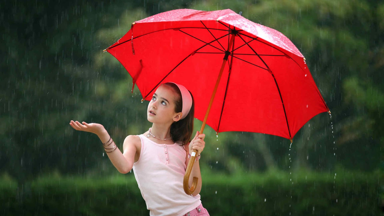 cute girl in rain with red umbrella whatsapp profile dp