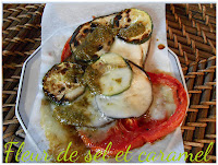 Couronne de légumes, mozzarella et pesto à la plancha