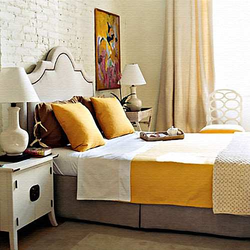 22 beautiful yellow themed small bedroom designs for Bedroom ideas yellow and grey