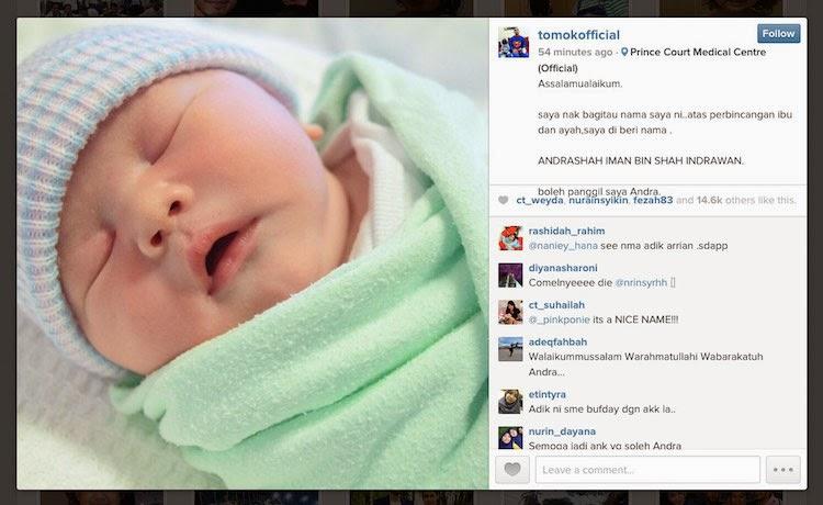 Nama anak kedua Tomok Andrashah Iman