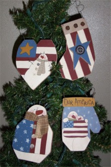 americana snowmen ornaments, painting pattern, primitives, quick and easy painting