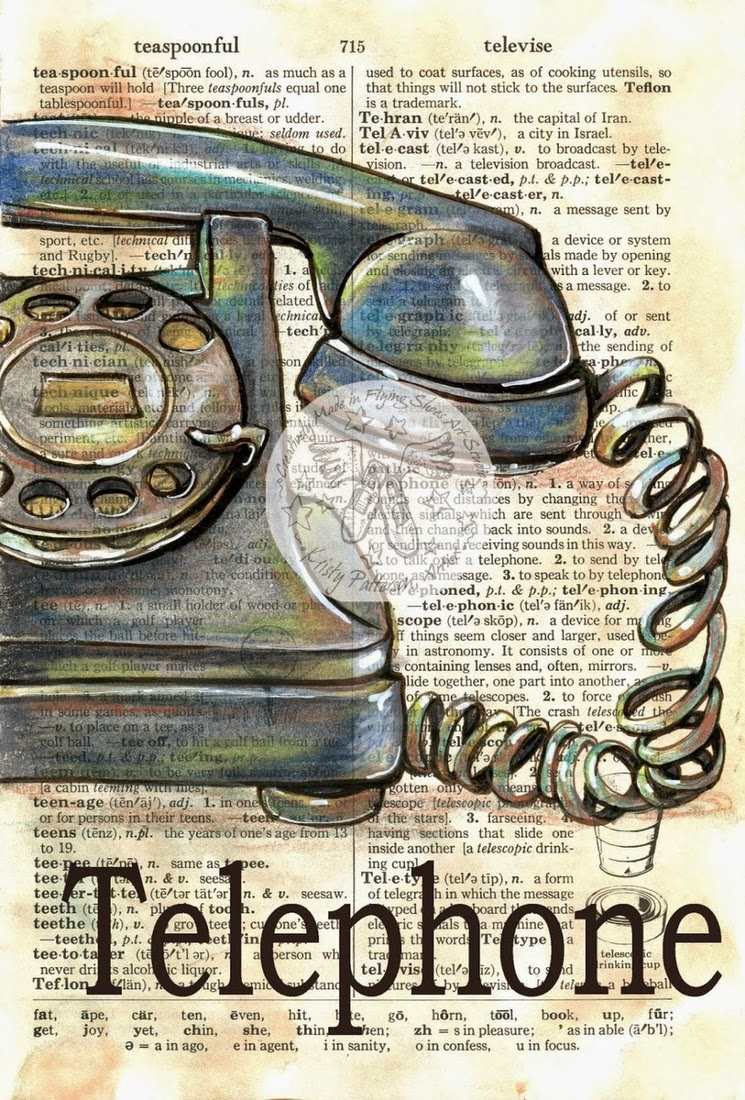 17-Old-Telephone-Kristy-Patterson-Flying-Shoes-Art-Studio-Dictionary-Drawings-www-designstack-co
