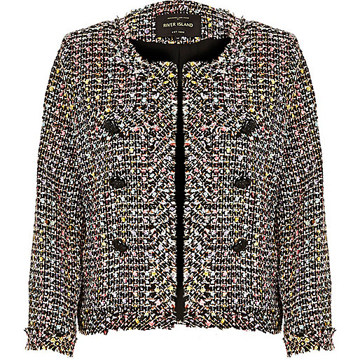 river island boucle coat, boucle jacket, pink yellow boucle jacket,