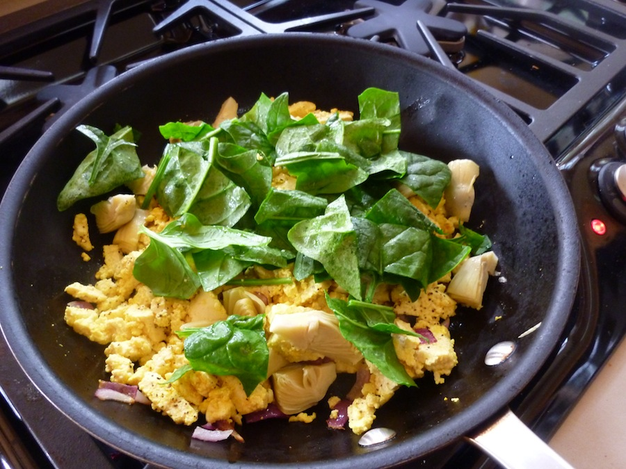 Tofu Scramble With Artichoke Hearts, Mushrooms And Spinach - A Hearty ...