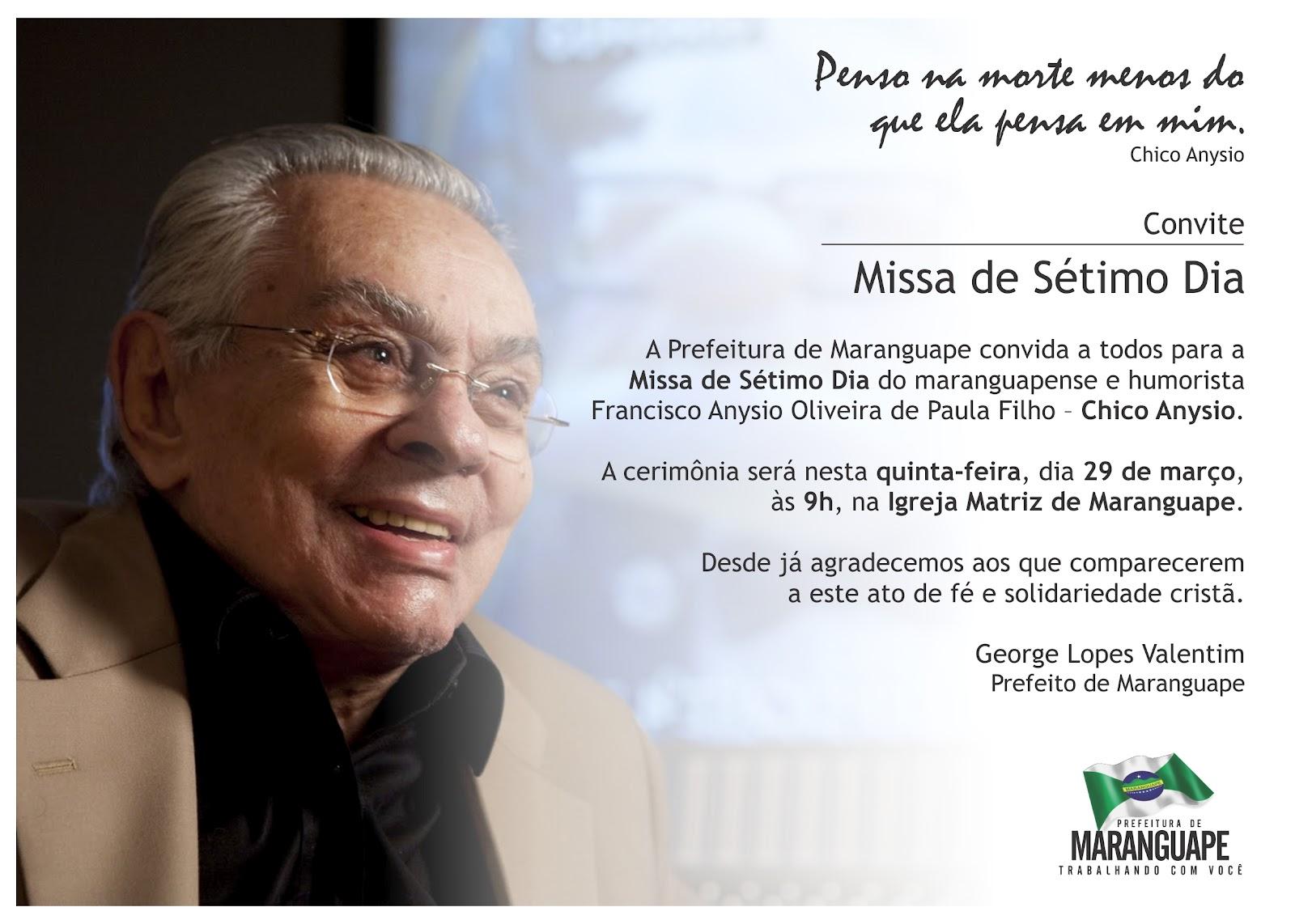 De Maranguape  A Missa De 7   Dia De Falecimento De Francisco Anysio