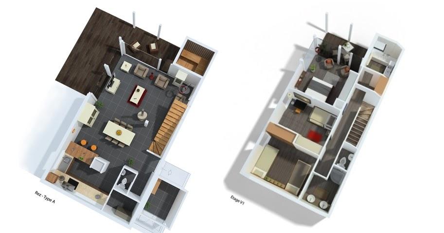 Plan maison 5 chambres avec etage for Plan maison 3 chambres 1 bureau