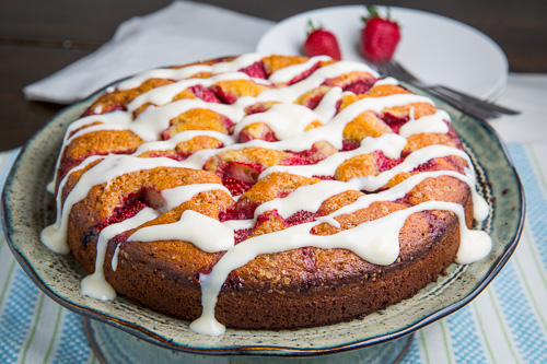 Strawberries and Cream Coffee Cake with Vanilla Cream Cheese Glaze