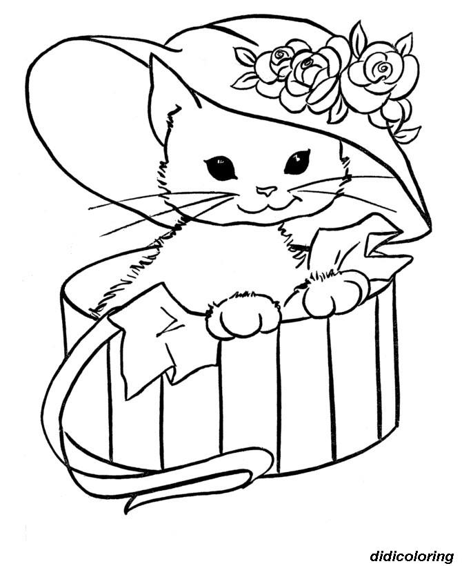Printable Innocent Kitty Cat Free Coloring Page Animals For Kids