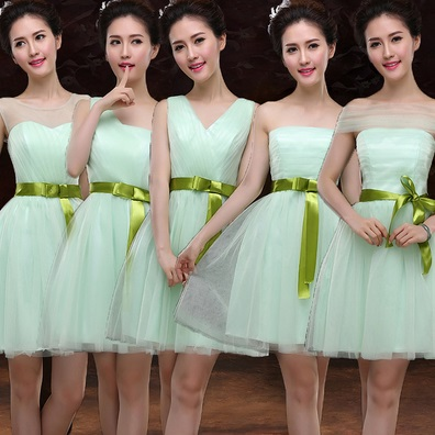 6-Design Tutu Olive Ribbon Light Green Lace Midi Dresses