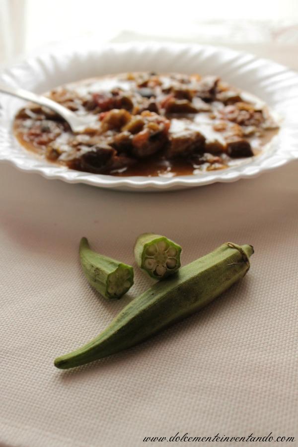 spezzatino di carne, okra e verdure (bamje me mish dhe perime) : cucina albanese