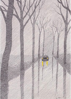 illustration by french illustrator pierre le tan of a car on a rainy road