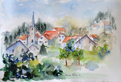 french village watercolor with church and houses