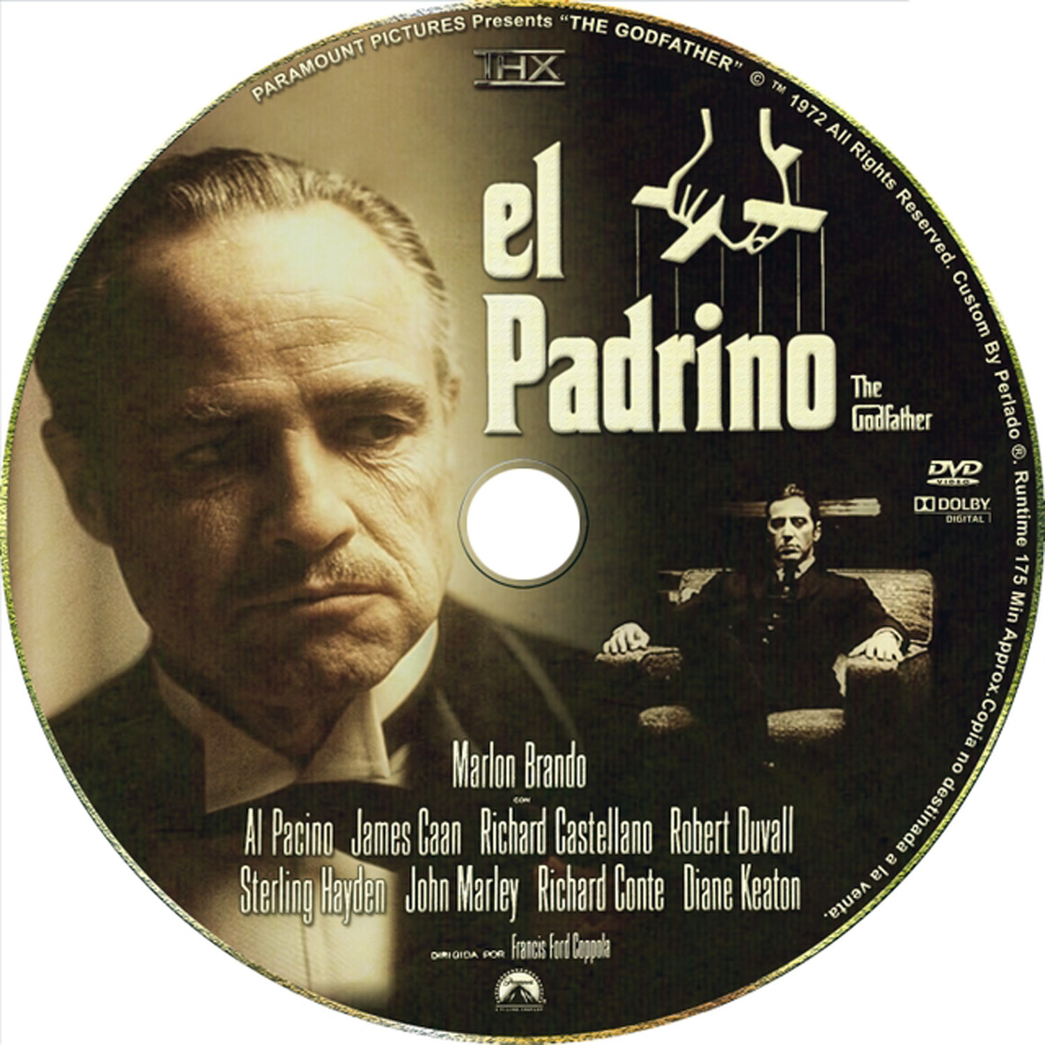 El Padrino The Godfather DVD Label Art