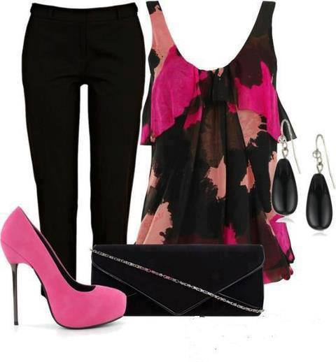 Black pants, red and pink blouse, purse and high heel sandals for ladies