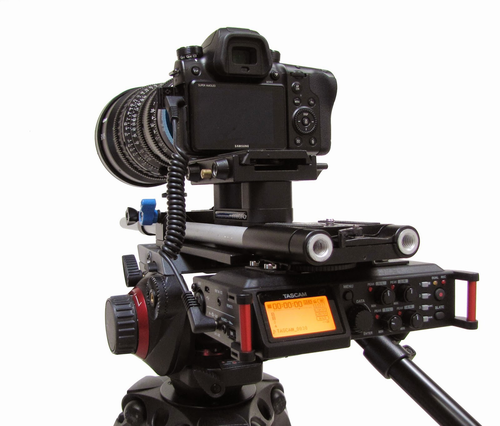 Tascam DR 70D rigged on rails to counter balance and easy viewing meters