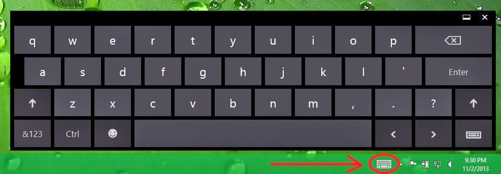 ... gambar keyboard dalam Touch keyboard, seperti menampilakn Pen keyboard