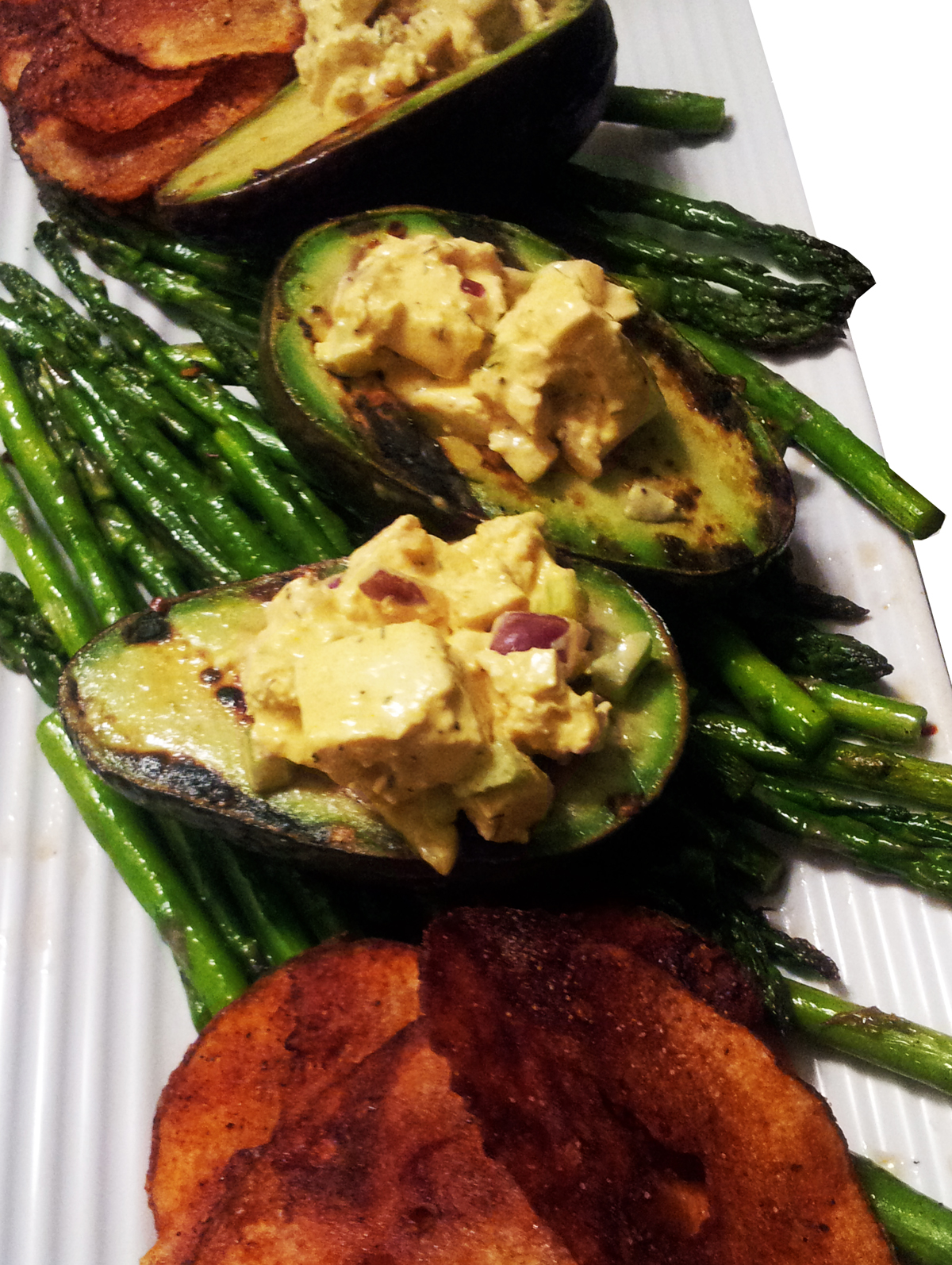 ... : Eggless Tofu Salad in Grilled Avocados, Asparagus & Baked BBQ Chips