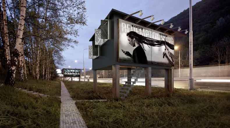 Proyecto innovador propone estructuras de cartelera como espacio para las personas sin hogar