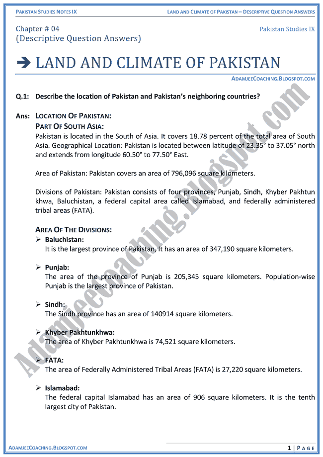 land-and-climate-of-pakistan-descriptive-question-answers-pakistan-studies-ix