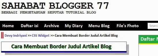 Gambar Membuat Border Judul Artikel Blog