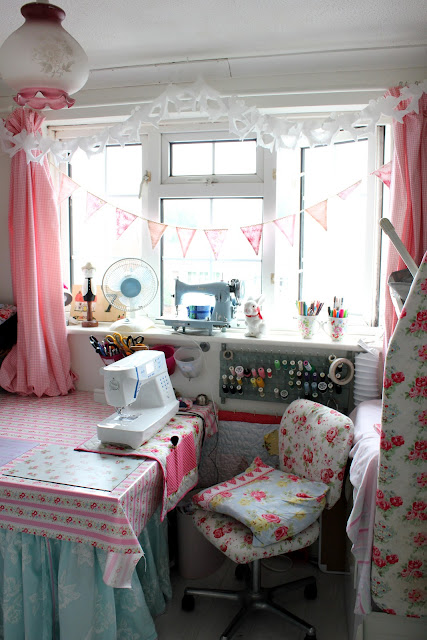 Shabbychicsarah sewing room tour for Shabby chic craft room