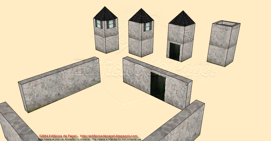 Four towers and four walls are included in this set