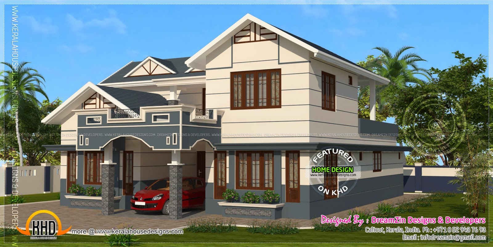 339 square yards house elevation kerala home design and for Designers homes
