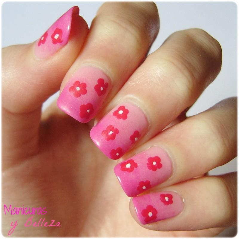 nail art degradado mate con flores fáciles primaveral uñas rosas pink nails with dotting tool flowers easy manicura sencilla primavera acabado mate Deliplus Mercadona