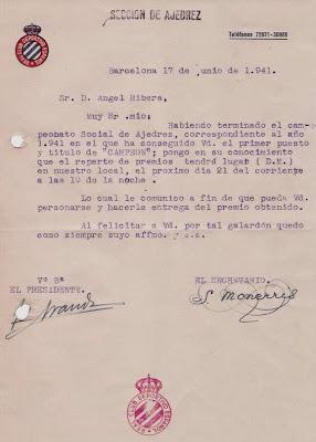 Carta de la Sección de Ajedrez del Real Club Deportivo Español 1941