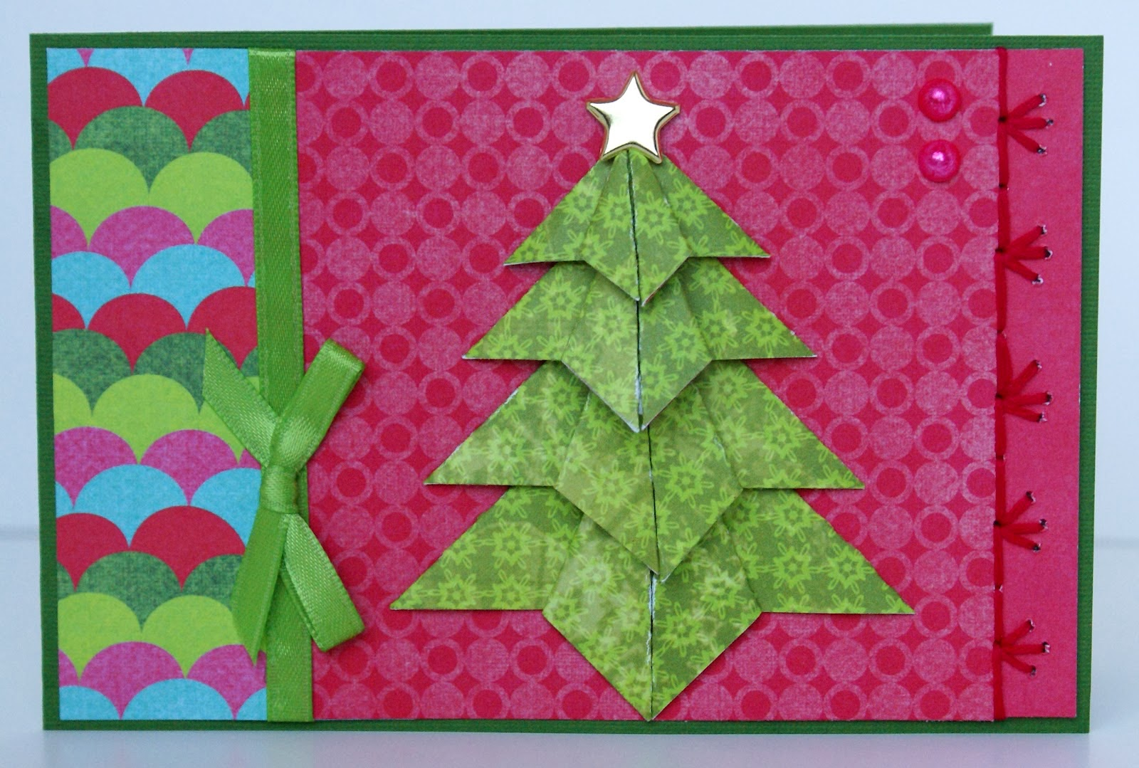 Origami maniacs tea bag folding christmas tree card for How to make folded christmas cards