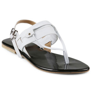 Sandal Kulit Wanita Model Japit Flat Tolliver Warna Putih