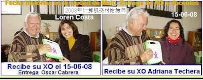 Entrega de xo ceibalitas a lo maestros.Año 2008