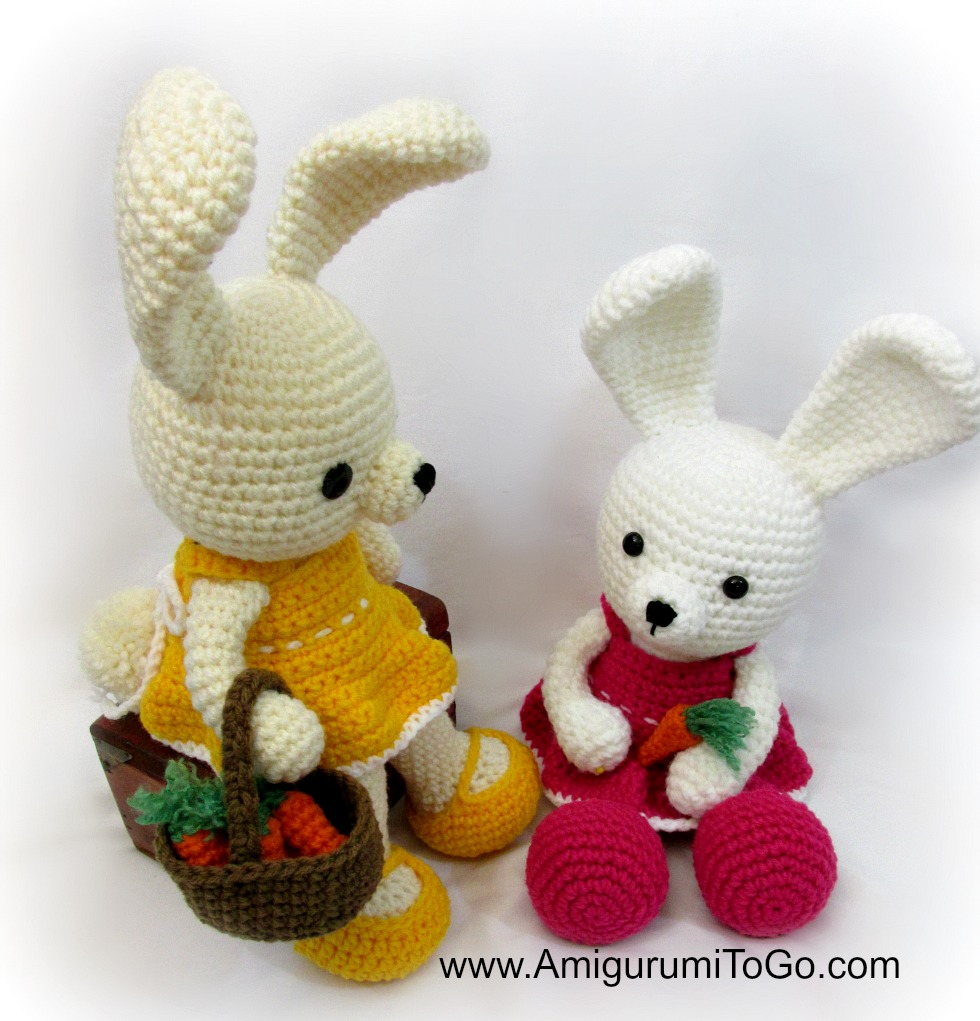 bunny wearing yellow crochet doll dress