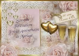 carte animation anniversaire mariage 50 ans noce dor cartes anniversaire de mariage 50 - Noce 50 Ans De Mariage