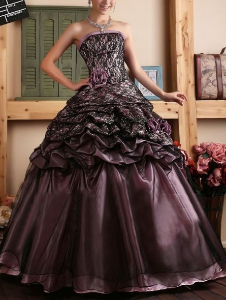 Purple and Black Lace Strapless Gothic Wedding Dress