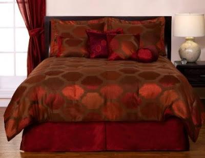 Red orange jacquard comforter set bedroom decorating ideas - Red and orange comforter sets ...