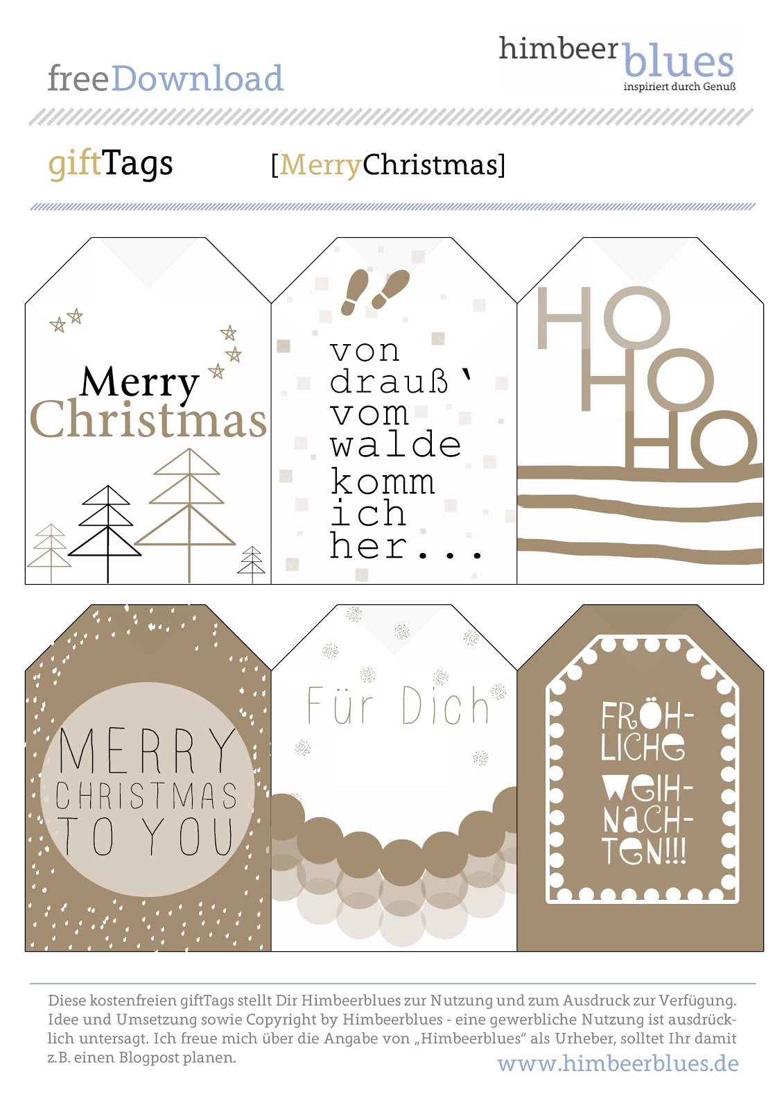 Zum Download der free Printables Christmas Gift-Tags hier klicken