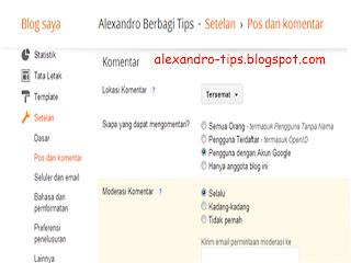 cara mengatur moderasi komentar di blog
