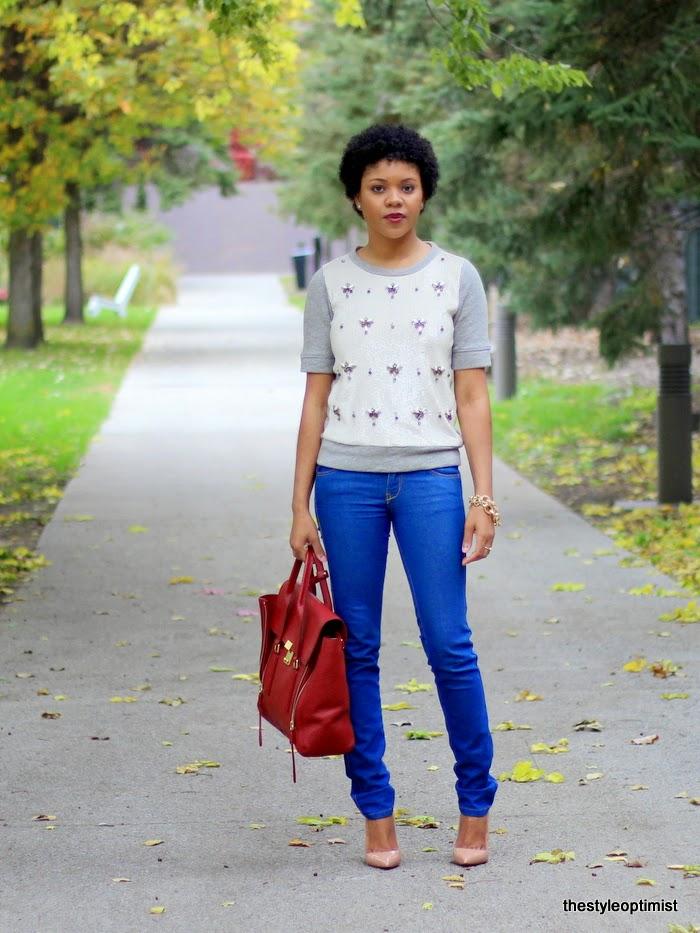 jcrew embellished sweater, philip lim pashli, christian louboutin pigalle,  fall sweaters, natural hair twa