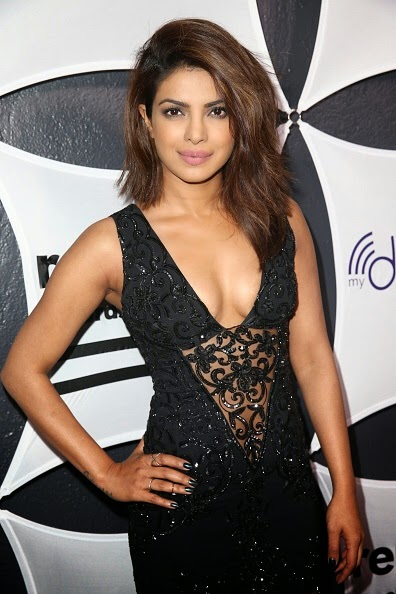 Priyanka Chopra Cleavage in Black See-through Dress at GRAMMY After Party