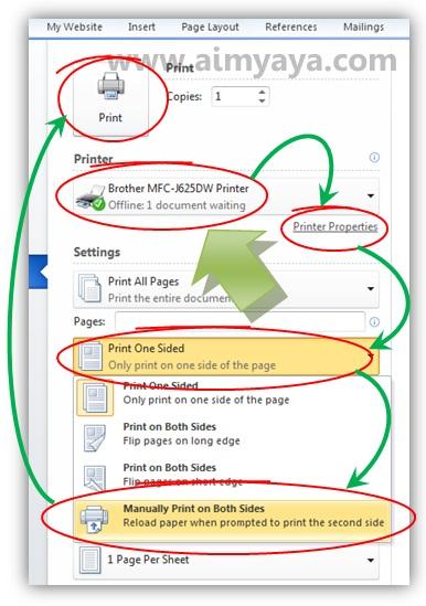 Gambar: Mencetak halaman bolak balik (duplex printing) menggunakan microsoft word 2010