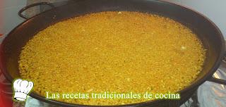 Receta de Paella de caldo de pollo o arroz seco de caldo