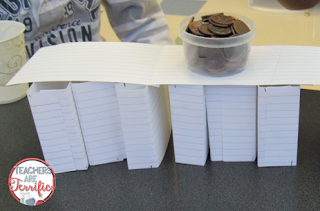 STEM Challenge: Building bridges with index cards! One supply means easy prep and easy clean up!